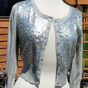 Sequin crop cardigan sweater